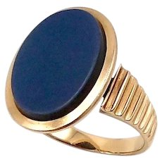 14K Rose Gold Victorian Blue Banded Agate Ring