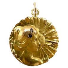 Art Nouveau 18K Gold Young Flower Girl Medallion or Charm