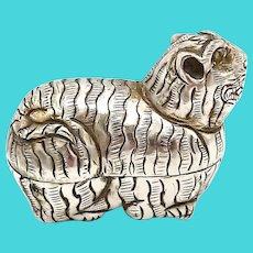 Vintage Silver Repoussé Tiger Zodiac Charm Box