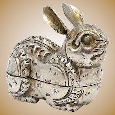 Thai Silver Repoussé Rabbit Box Charm