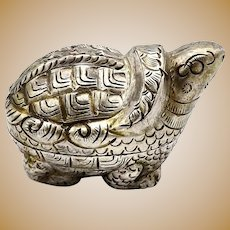 Vintage Thai Silver Turtle Zodiac Charm Holder Box