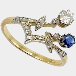 Edwardian 18K Gold Sapphire and Diamond Ring