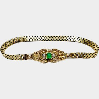 Early French Victorian 18K Gold Bracelet with Pearls and Emerald