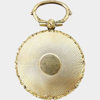 10K Gold Engine-Turned Mourning Locket with Braided Hair
