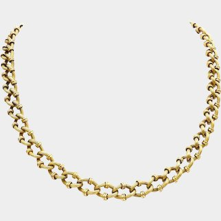 Victorian Era 18K Gold French Reeded-Link Chain