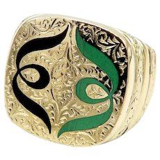 Rare 18K Gold Hand-engraved Symmetrical  Arabesque Design & Enamel Signet Ring