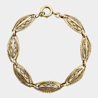 18K Gold French Victorian Fancy Link Bracelet