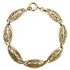 18K Gold French Victorian Fancy Link Bracelet