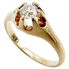 14K Gold Victorian Diamond Solitaire Ring