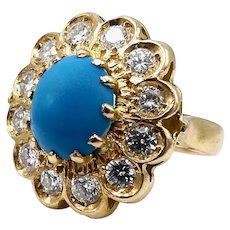 18K Gold Vintage Turquoise and Diamond Halo Flower Ring
