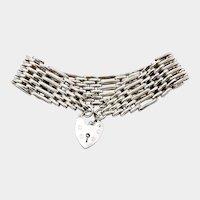 Vintage British Sterling Silver Gate Bracelet with Heart Clasp