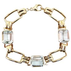 Mid Century 14kt Gold and Aquamarine Bracelet