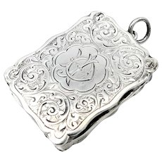 Mid-Sized Victorian Sterling Silver Vinaigrette With Floral Motif