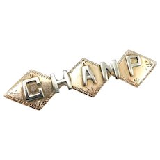 "10K Victorian Gold ""CHAMP"" Bar Pin or Brooch"