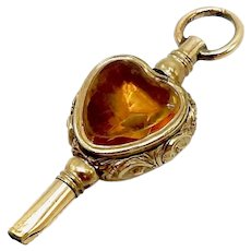 9K Yellow Gold Early Victorian Heart Shaped Watch Key
