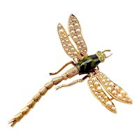 14K Gold Vintage Dragonfly Pendant with Garnet & Pearls