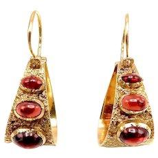 Portuquese 19.2K Gold Garnet Hoop Earrings