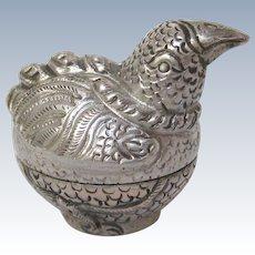 Thai Silver Repoussé Rooster Charm Box