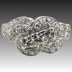 Vintage Ribbon Diamond Design Platinum Ring