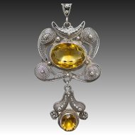 Chinese Art Deco Sterling Silver Wirework and Citrine Necklace, circa 1930s