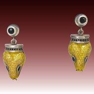 Margot de Taxco Sterling Silver Enamel Snake Earrings