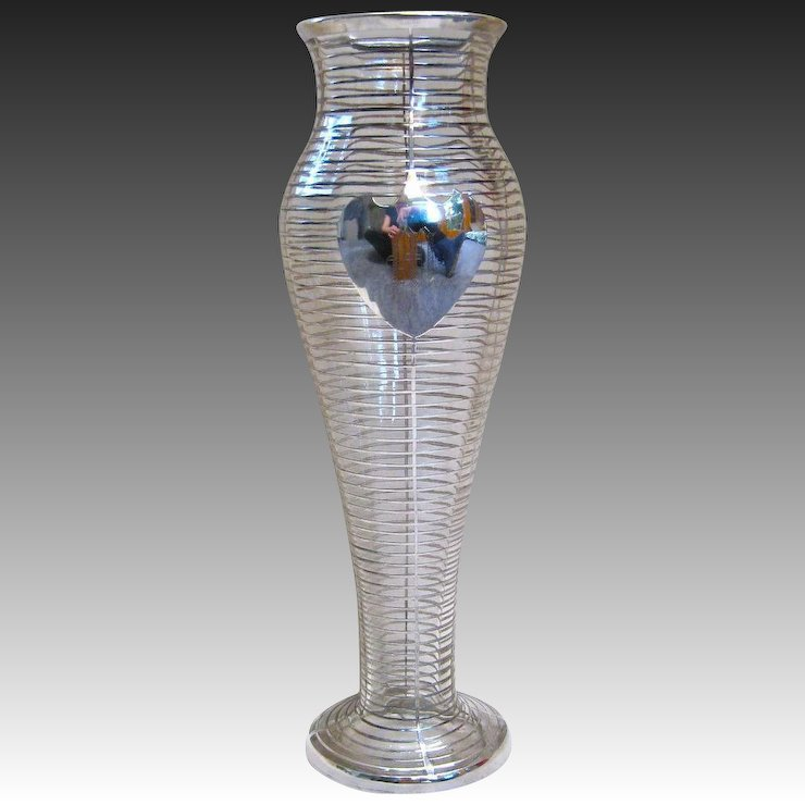 La Pierre Tall Sterling Silver Overlay Vase With A Shield Cartouche