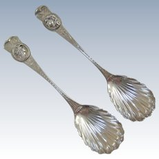 A Pair of Peter Krider Coin Silver Medallion Preserve Spoons