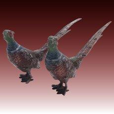 Pair of Japanese Cold Painted Metal Pheasants