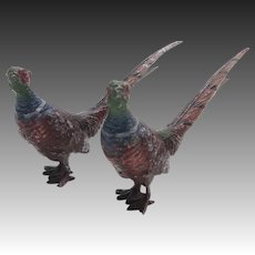 Pair of Japanese Cold Painted Metal Pheasants