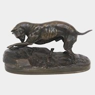 "Chemin ""Dog and Snail"" Cast Bronze Animalier Sculpture"