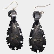 Victorian Era Carved Whitby Jet, Tear Drop Earrings