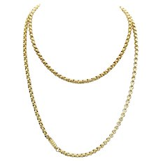 Georgian Pinchbeck Muff Chain Necklace with Original Clasp
