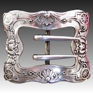 Unger Brothers Sterling Silver Wagon Wheel Belt Buckle