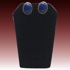 Vintage Lapis 14K Gold Cabochon Earrings