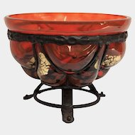 Daum Nancy & Majorelle Iron Mounted Glass Bowl, circa 1930
