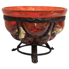 Daum Nancy & Majorelle Iron Mounted Glass Bowl, circa 1930