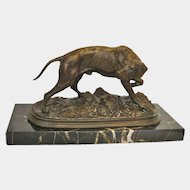 Bronze Animalier Hunting Dog Sculpture by P J Mene, circa 1910