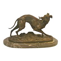 Bronze Whippet Animalier Sculpture by Mene, circa 1910