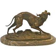 Bronze Whippet Animalier Sculpture by Mene, circa 1910