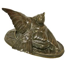 August Cain Bronze Sculpture of a Bird in a Trap, circa 1870