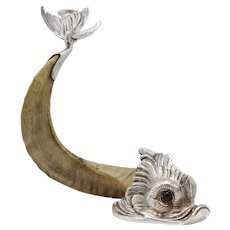 Victorian Ram Horn Silver Plated Dolphin Candle Holder