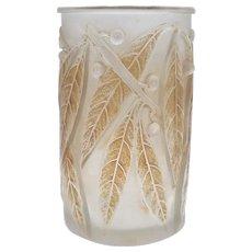 Laurier Bay Leaf René Lalique Glass Vase