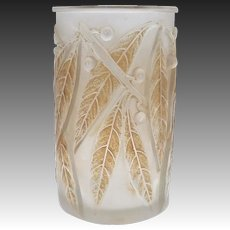 Laurier Bay Leaf René Lalique Glass Vase