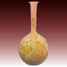 Gallé Banjo Cameo Glass Vase, circa 1890