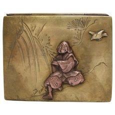 Meiji Era Japanese Mixed Metal Brass and Copper Box
