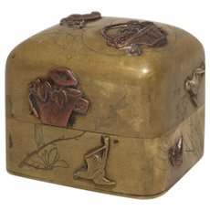 Meiji Era Japanese Copper Appiqlué and Mixed Metal Box
