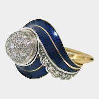 Art Deco 18 K White and Yellow Gold, Blue Enamel, and Diamond Ring
