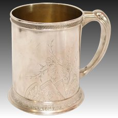 Whiting Sterling Silver Bright-Cut Floral Mug