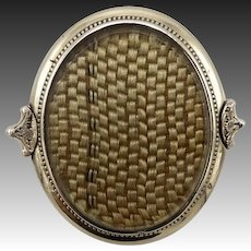 14K Gold Victorian Brooch with Blonde Hair