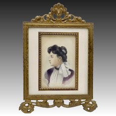 Pencil and Watercolor Portrait of a Victorian Woman in a Gilt Brass Frame (1911)
